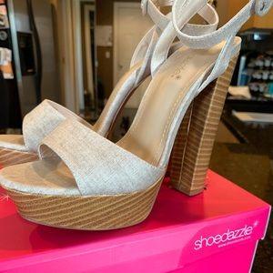 Platform beige linen heels
